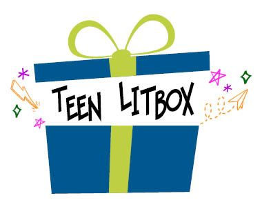 Logo for Teen LitBox. A blue gift box with a green ribbon.