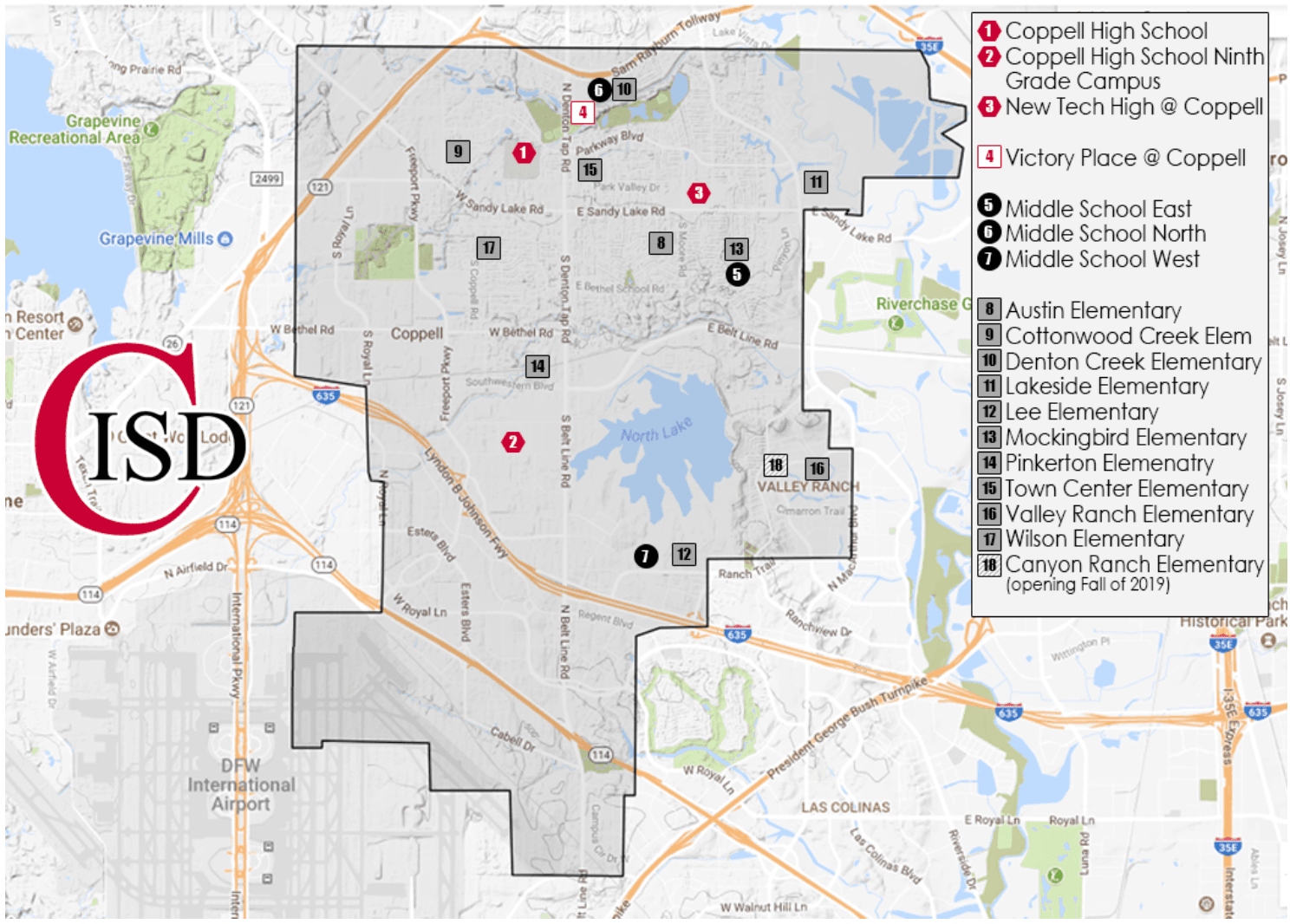 Coppell Independent School District Boundary Map