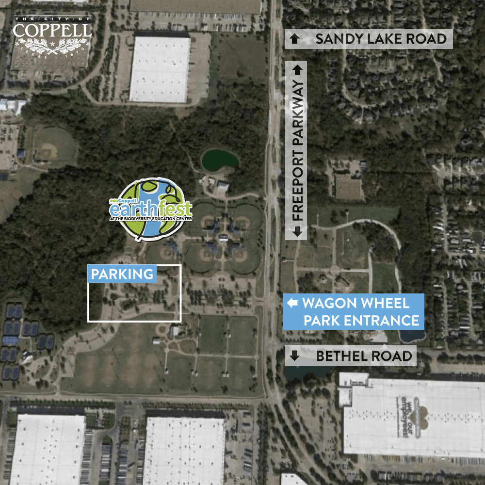 Aerial map of Wagon Wheel Park with street and parking labels