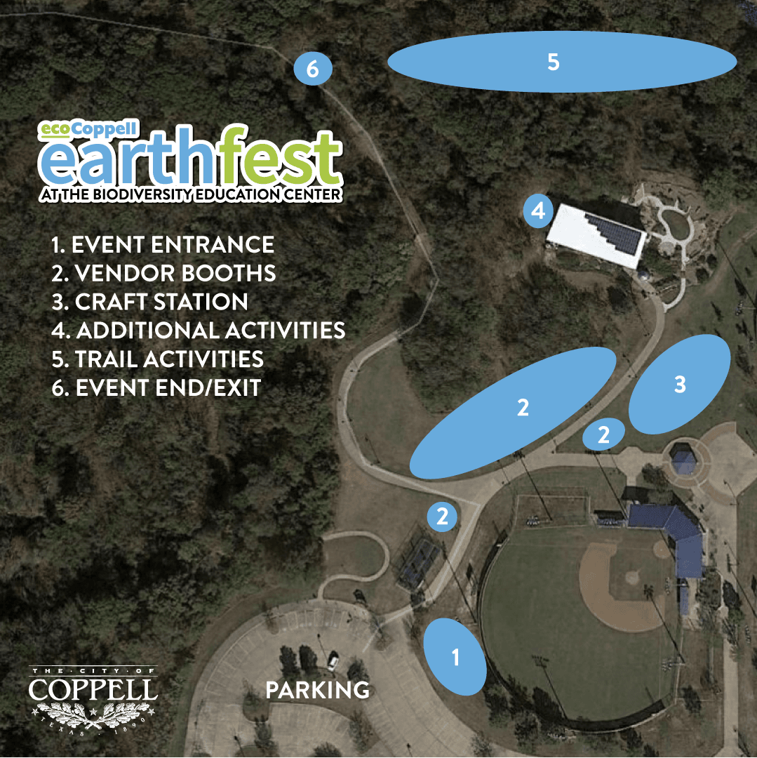 Aerial map of park with areas labeled for Earthfest event