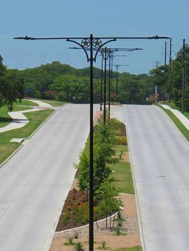 City of Coppell owned street lighting along Sandy Lake Road